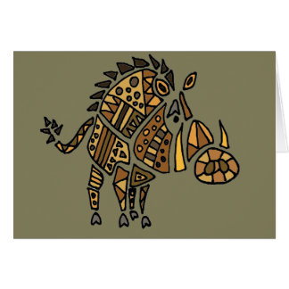 Funny Artistic Warthog Abstract Art Card