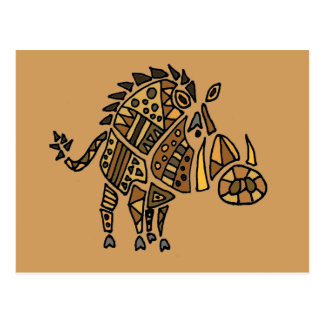 Funny Artistic Warthog Abstract Art Postcard