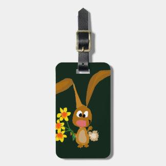 Funny Artsy Bunny Rabbit Holding Daffodil Flowers Bag Tag