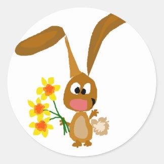 Funny Artsy Bunny Rabbit Holding Daffodil Flowers Classic Round Sticker