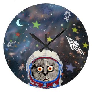 funny astronaut cat large clock