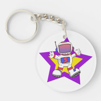 funny astronaut Double-Sided round acrylic keychain