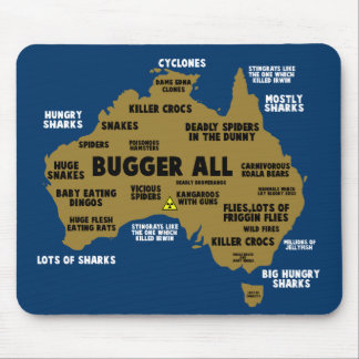 Funny Aussie map Mouse Pad