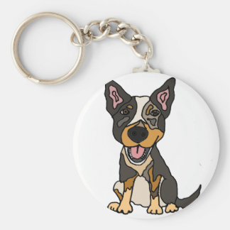Funny Australian Cattle Dog Puppy Artwork Keychain