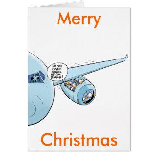 Funny Aviation Cartoon Merry Christmas Card