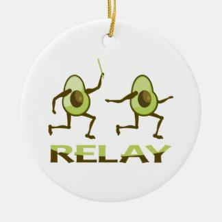 Funny Avocado Relay Race Ceramic Ornament
