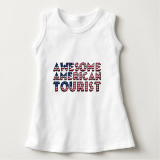 Funny Awesome American Tourist Flag Typography Dress
