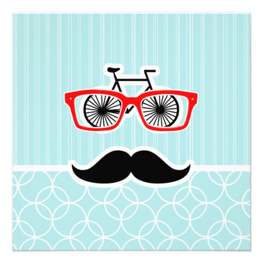 Funny Baby Blue Hipster Mustache Invitations