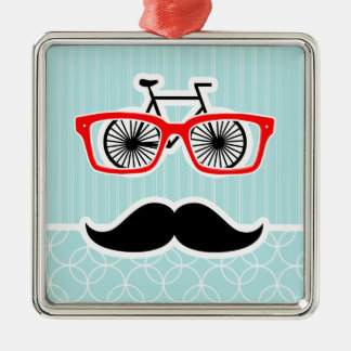 Funny Baby Blue Hipster Mustache Christmas Ornament