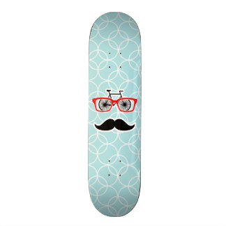 Funny Baby Blue Hipster Mustache Skate Board