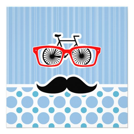 Funny Baby Blue Mustache; Hipster Invite