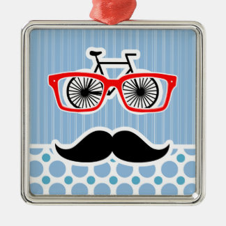 Funny Baby Blue Mustache; Hipster Christmas Ornaments