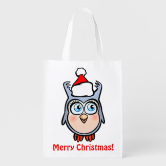 Funny Baby Hoot With Christmas Hat Reusable Grocery Bags