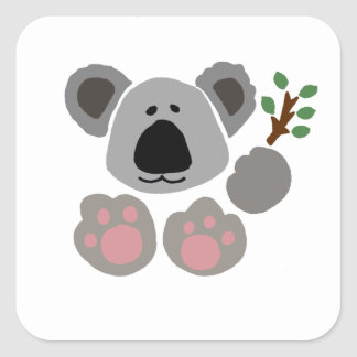 Funny Baby Koala Bear Art Square Sticker