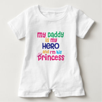 Funny baby quote Hero daddy and princess daughter Baby Romper