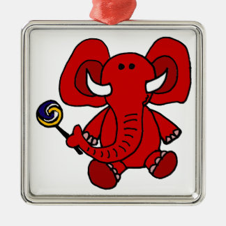 Funny Baby Red Elephant with Lollipop Silver-Colored Square Ornament