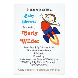 Funny Baby Shower Invitation Cute Monkey Baby Boy