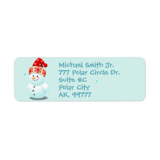 Funny Baby Snowman With Christmas Hat Return Address Label