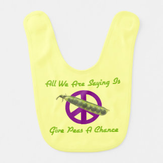 Funny Baby's Bib Give Peas a Chance