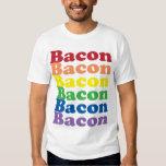 funny bacon rainbow colours text tshirt