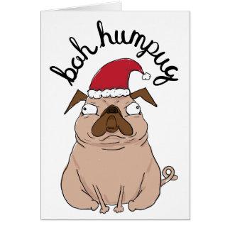 Funny Bah Humpug Santa Pug Christmas Card