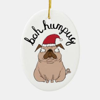 Funny Bah Humpug Santa Pug Christmas Ornament