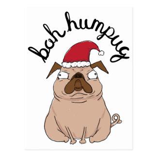 Funny Bah Humpug Santa Pug Christmas Postcard