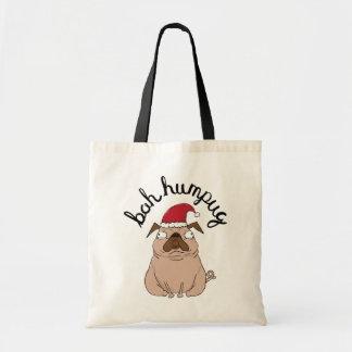 Funny Bah Humpug Santa Pug Christmas Tote