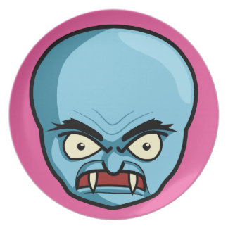Funny Bald Blue Demon Dinner Plates