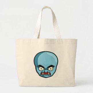 Funny Bald Blue Demon Large Tote Bag