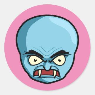 Funny Bald Blue Demon Round Sticker