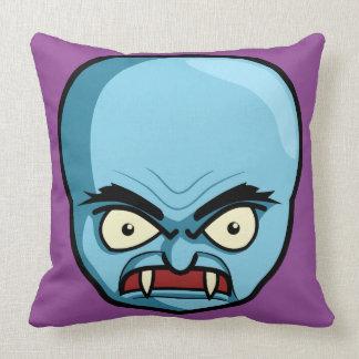 Funny Bald Blue Demon Throw Pillow