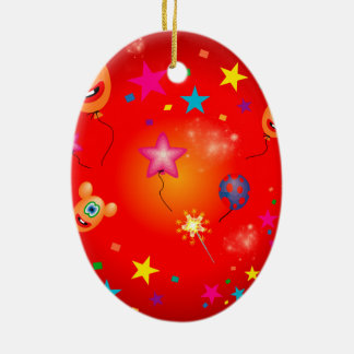 Funny balloons and stars Double-Sided oval ceramic christmas ornament