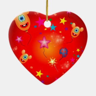 Funny balloons and stars christmas tree ornament