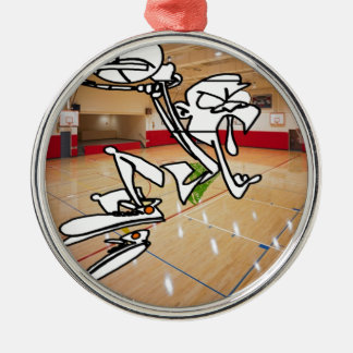 FUNNY BASKETBALL IMPRESSION METAL ORNAMENT