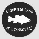 Funny Bass Fishing Round Stickers