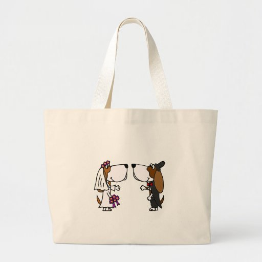 Funny Basset Hound Bride and Groom Wedding Art Canvas Bags