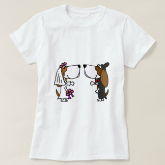 Funny Basset Hound Bride and Groom Wedding Art T-Shirt