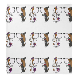 Funny Basset Hound Bride and Groom Wedding Bandana