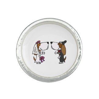 Funny Basset Hound Bride and Groom Wedding Ring
