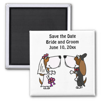 Funny Basset Hound Bride and Groom Wedding Square Magnet