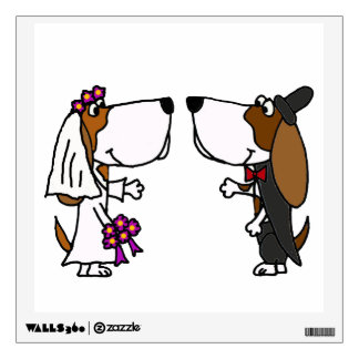 Funny Basset Hound Bride and Groom Wedding Wall Decal