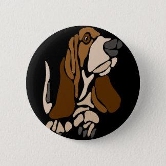 Funny Basset Hound Dog Art 2 Inch Round Button