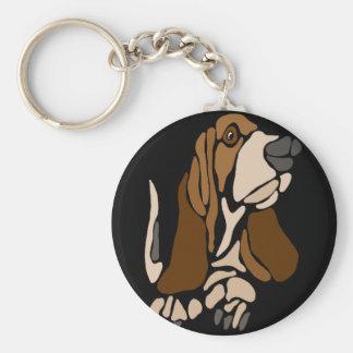 Funny Basset Hound Dog Art Keychain