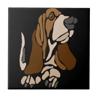 Funny Basset Hound Dog Art Tile