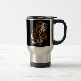 Funny Basset Hound Dog Art Travel Mug