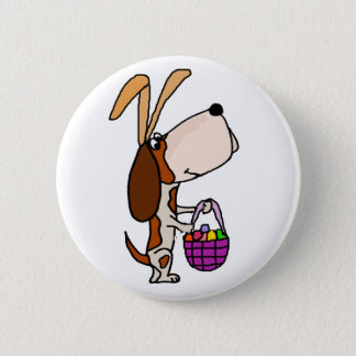 Funny Basset Hound Dog Easter Bunny 2 Inch Round Button