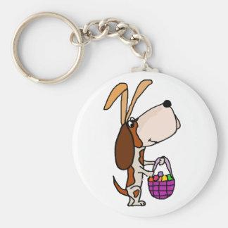 Funny Basset Hound Dog Easter Bunny Keychain