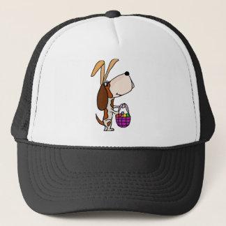 Funny Basset Hound Dog Easter Bunny Trucker Hat