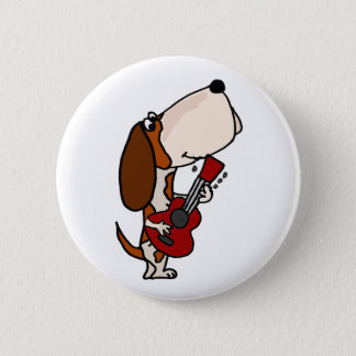Funny Basset Hound dog Playing Guitar 2 Inch Round Button